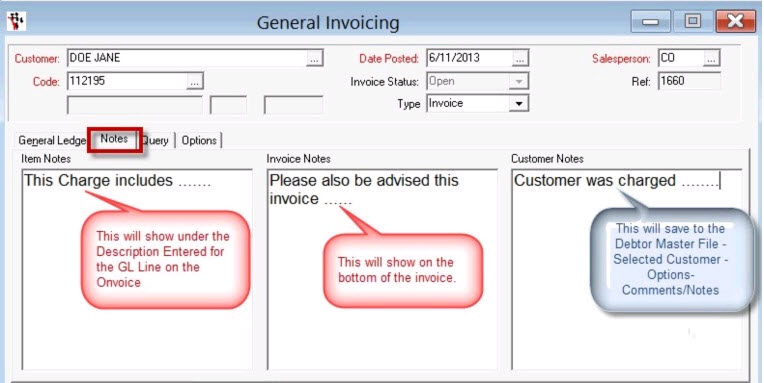... When The GL Code Is Selected Or Highlighted, A Note Can Be Written In  Item Notes. The Note Will Appear Directly Under The GL Code When The Invoice  Is ...  General Invoice