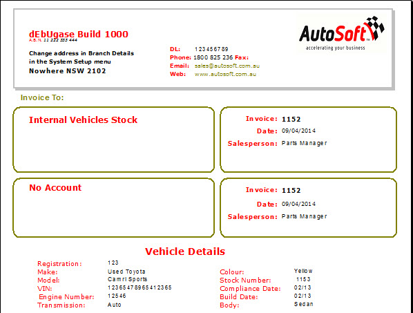 Vehicle Invoice - Invoice with bank details