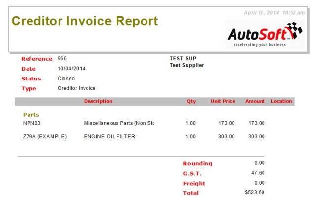 Creditor Invoice - Invoice reference